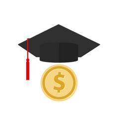 coin and graduation hat cap symbol icon vector image