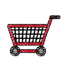 color crayon stripe shopping cart with wheels vector image
