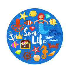 Composition with sea life icons vector