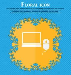 Computer widescreen monitor mouse sign icon Floral vector