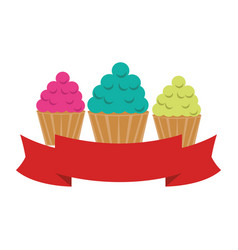 Delicious cupcake sweet icon vector