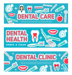 Dental care banners vector