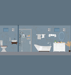 Dirty bathroom interior with furniture vector