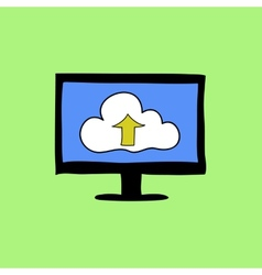 Doodle style cloud computing sign vector