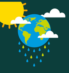 Earth drops rain clouds sun climate change vector