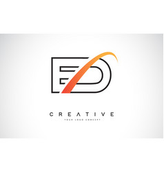 Ed e d swoosh letter logo design with modern vector