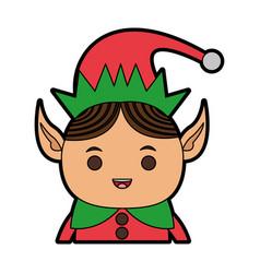 elf or santas helper christmas character icon vector image