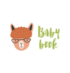 Face or head cute amusing llama with glasses vector