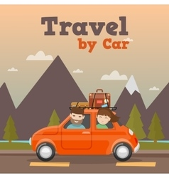 family travel car in mountains vector image