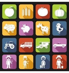 Farm Icons Set Flat vector image