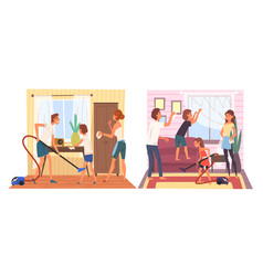 Father mother and their children doing housework vector