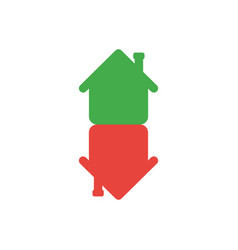 Flat design style concept of houses in an arrow vector