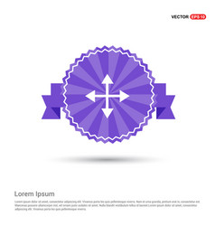 four side arrow icon - purple ribbon banner vector image