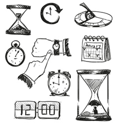 Freehand sketch of time symbols vector
