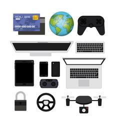 Futuristic technology gadget set icons vector