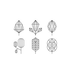 Geometrical trees and leaves set monochrome vector