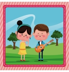 Girl boy sing song guitar love rural landscape vector
