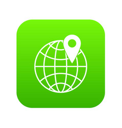 globe with pin icon digital green vector image