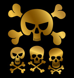gold piracy skulls icons isolated on black vector image