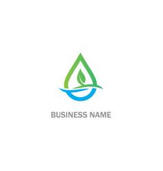 green leaf droplet bio logo vector image