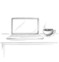 Hand drawn laptop with coffee sketch vector