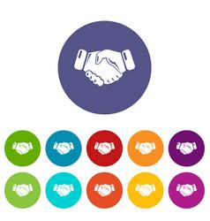 Handshake ice hockey icons set color vector
