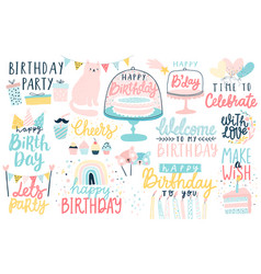 happy birthday lettering set hand drawn vector image