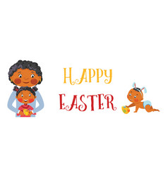 happy easter family banner vector image
