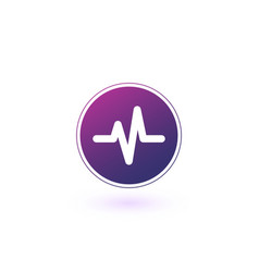 Heart beat cardiogram life line circle icon stock vector