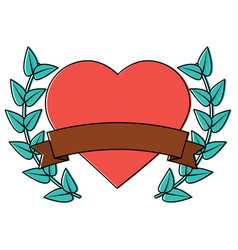 Heart cartoon emblem with laurel wreath valentines vector