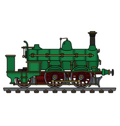 Historical green steam locomotive vector