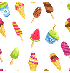 ice cream summer dessert cone waffle stick and vector image