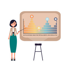Infographics on whiteboard of woman presenter vector