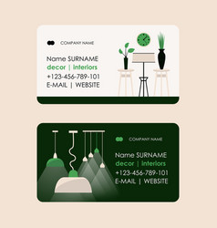 interior designer business card a living room vector image
