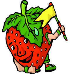 isolated funny cartoon strawberry with yellow flag vector image