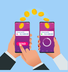 Isometric money transfer online money wallet vector