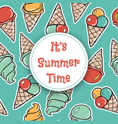 It is summer time seamless pattern with icecreams vector