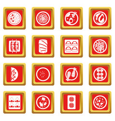 Japan food icons set red vector