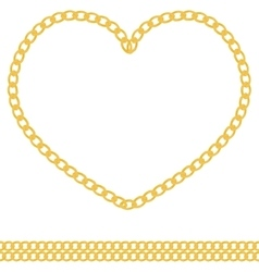 Jewelry golden chain heart shape vector