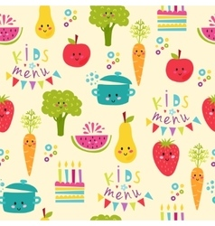 Kids food menu background vector image