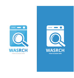 Laundry and loupe logo combination vector