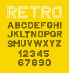 linear font alphabet black yellow vector image