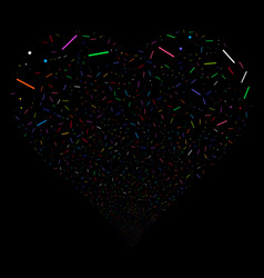 Lines and dots fireworks heart vector