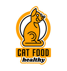 logo on the theme of food for cats taking care of vector image