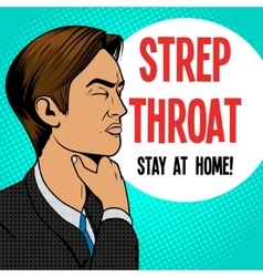Man with sore throat pop art retro vector