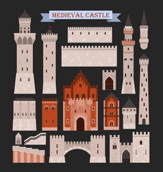 Medieval castle parts like gates walls towers vector