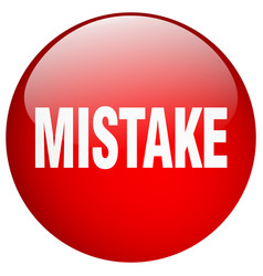 Mistake red round gel isolated push button vector