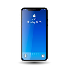 Mobil phone with blue screen vector