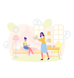 Mother holding diary with bad grades daughter vector