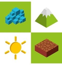 Nature element isometric icon vector